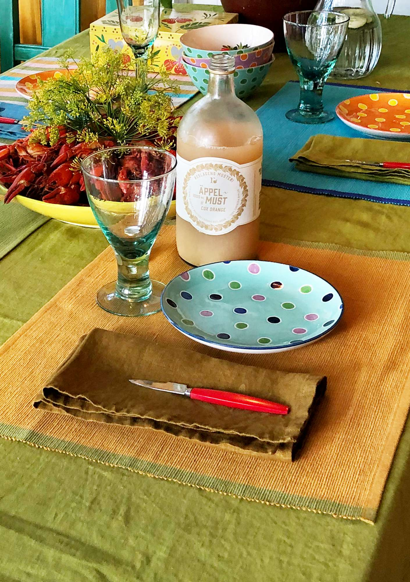 """Feliz"" linen/cotton placemat mustard"