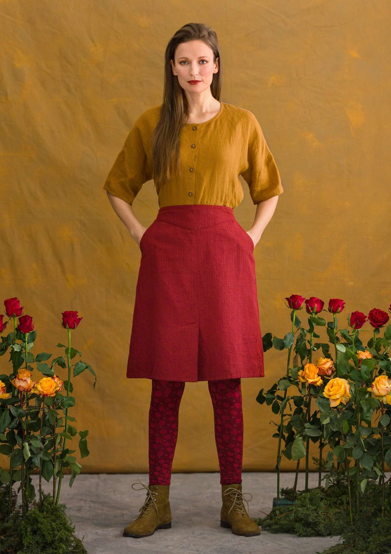 """Lindblom"" organic cotton/linen skirt agate red"