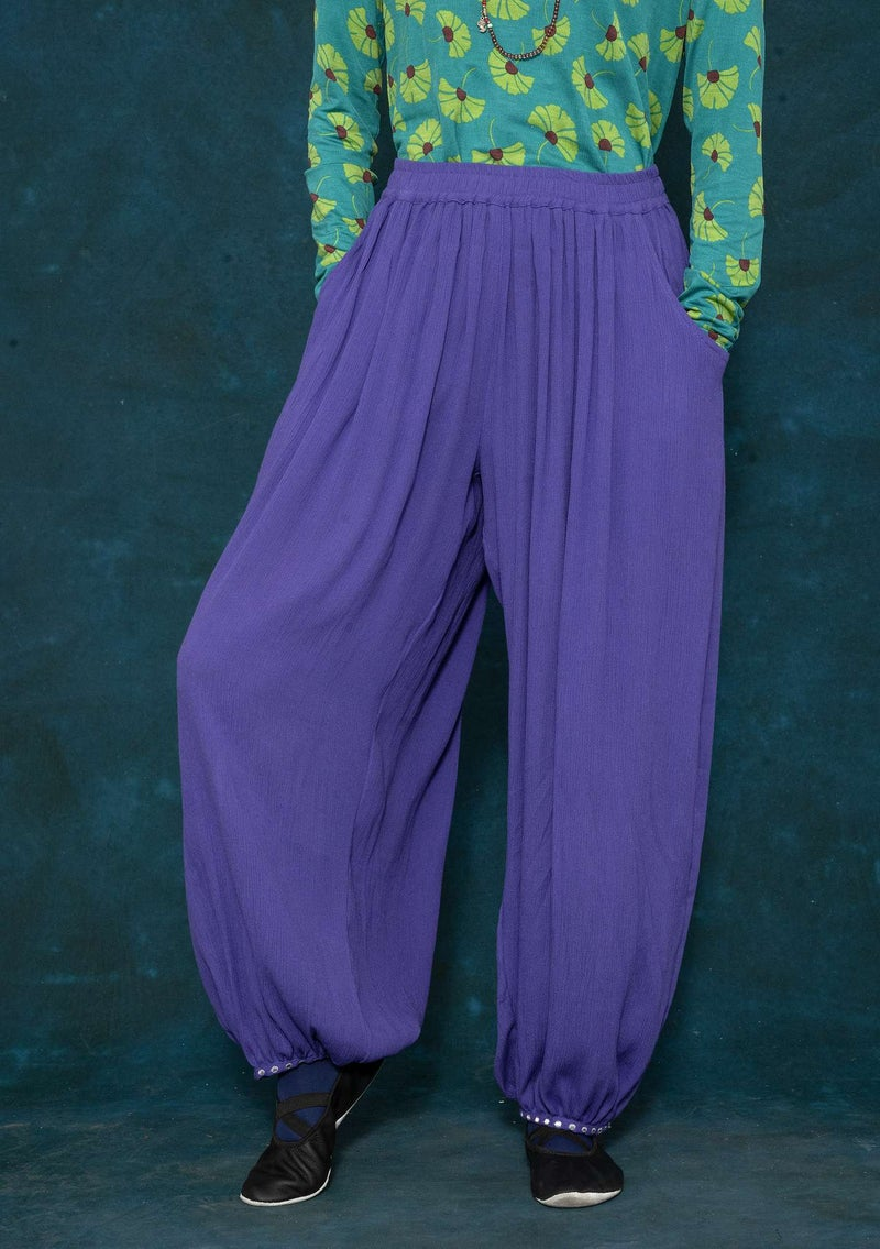 Woven viscose harem trousers amethyst