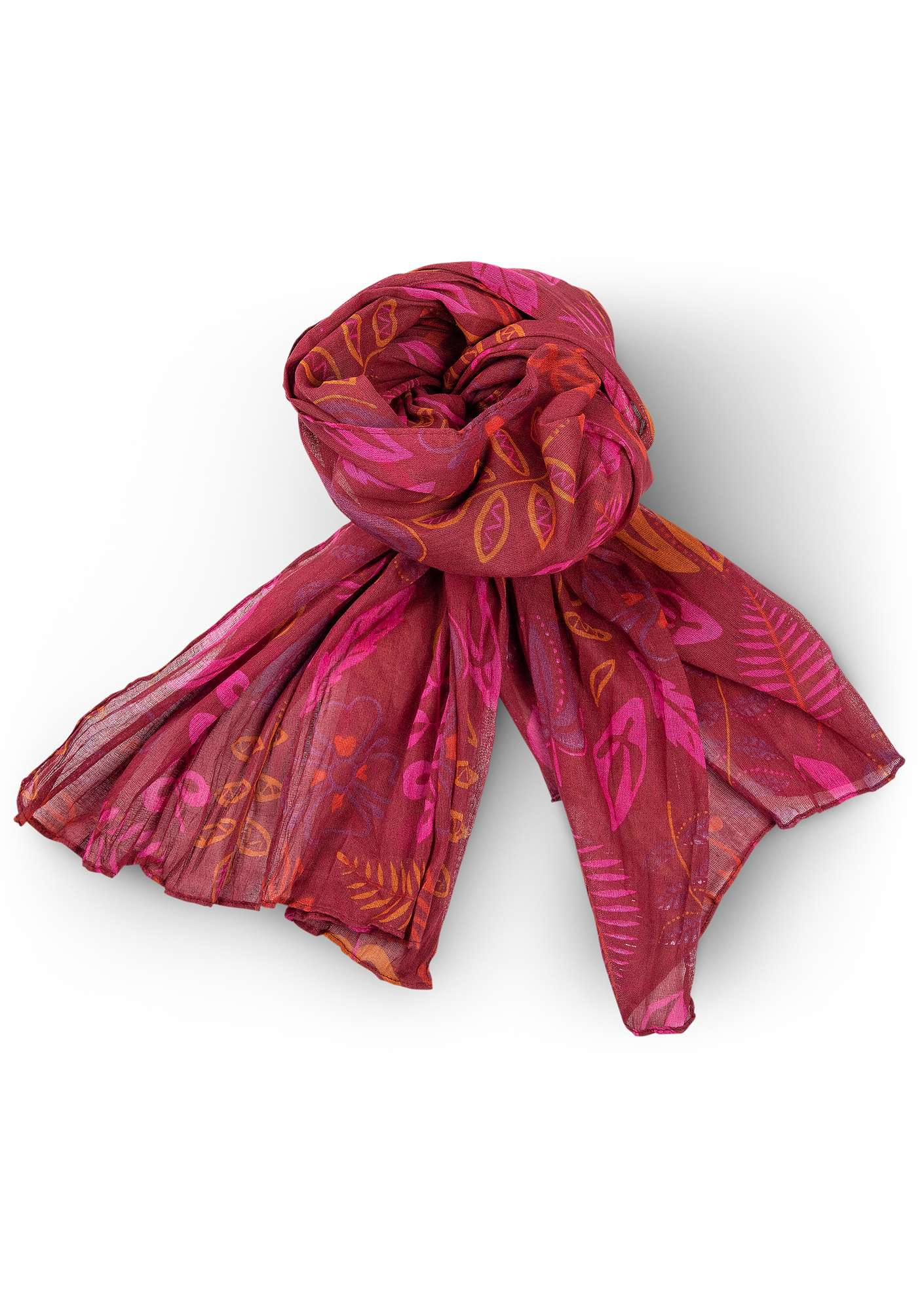 """Rigmor"" shawl in eco-cotton pomegranate"