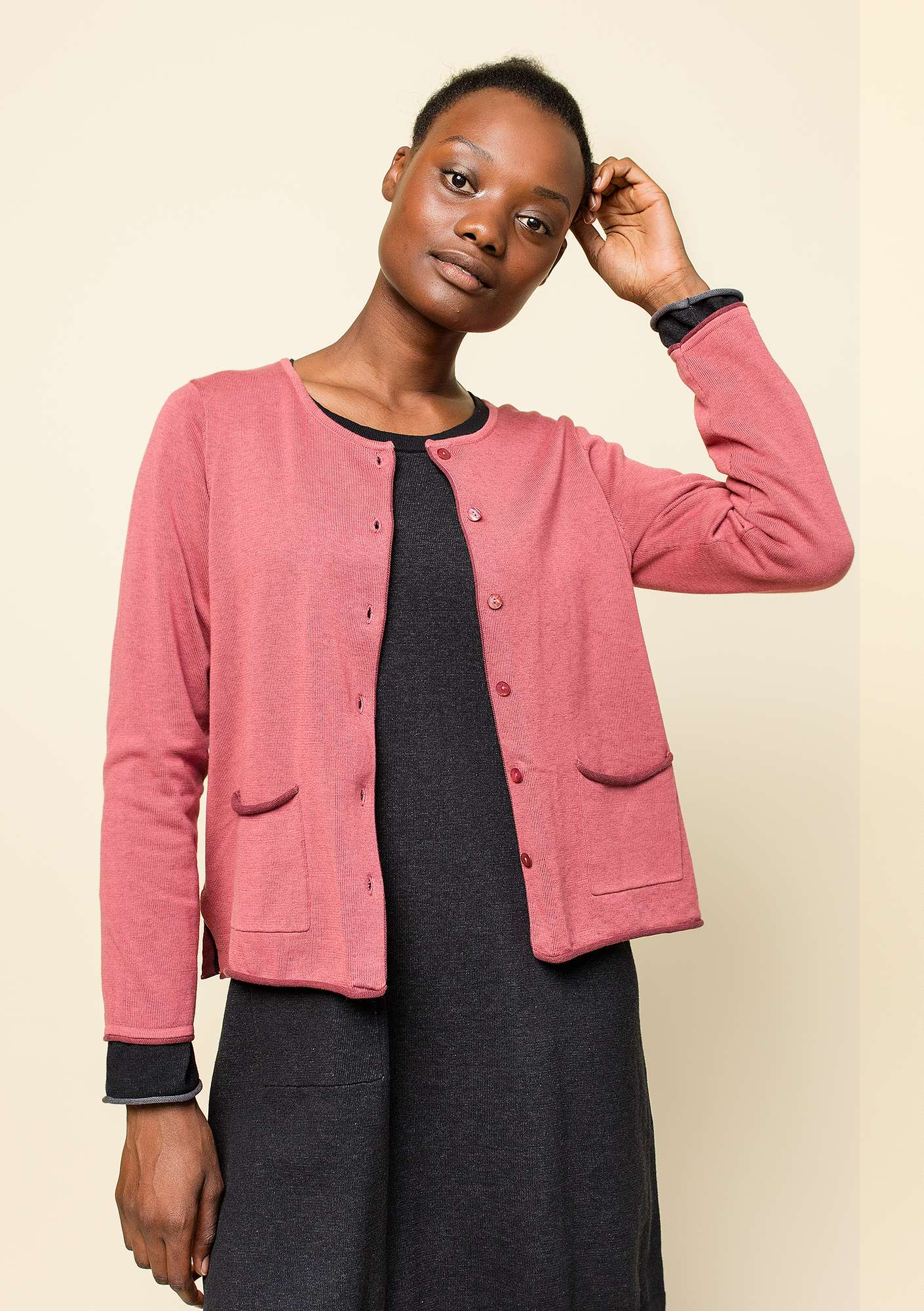 Plated cardigan in organic cotton fig