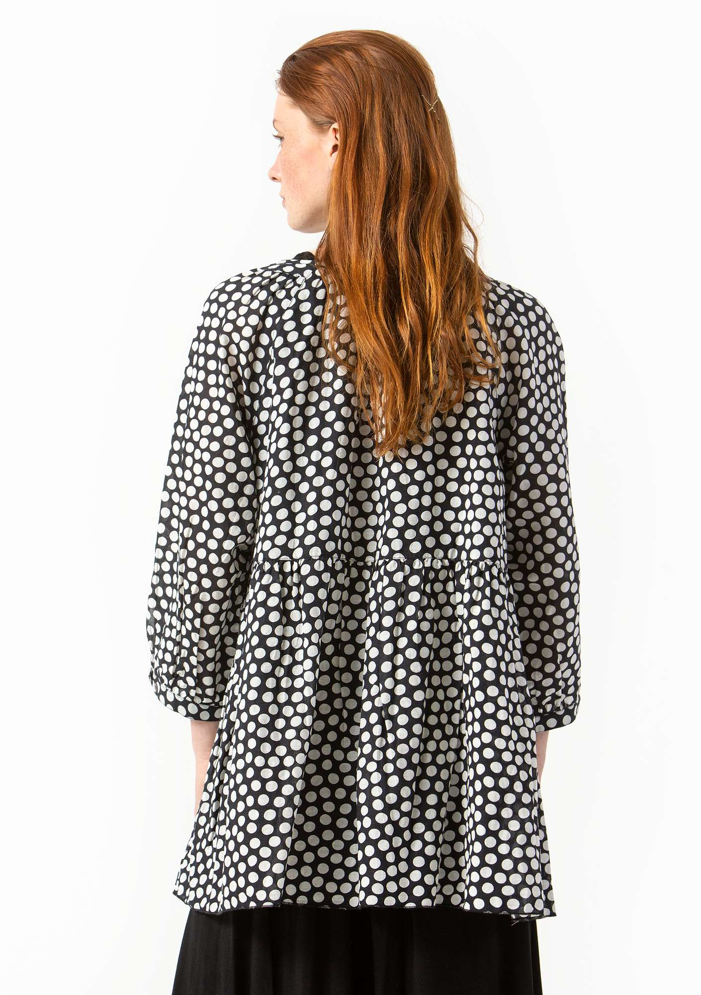 """Dot"" blouse in cotton/linen black"