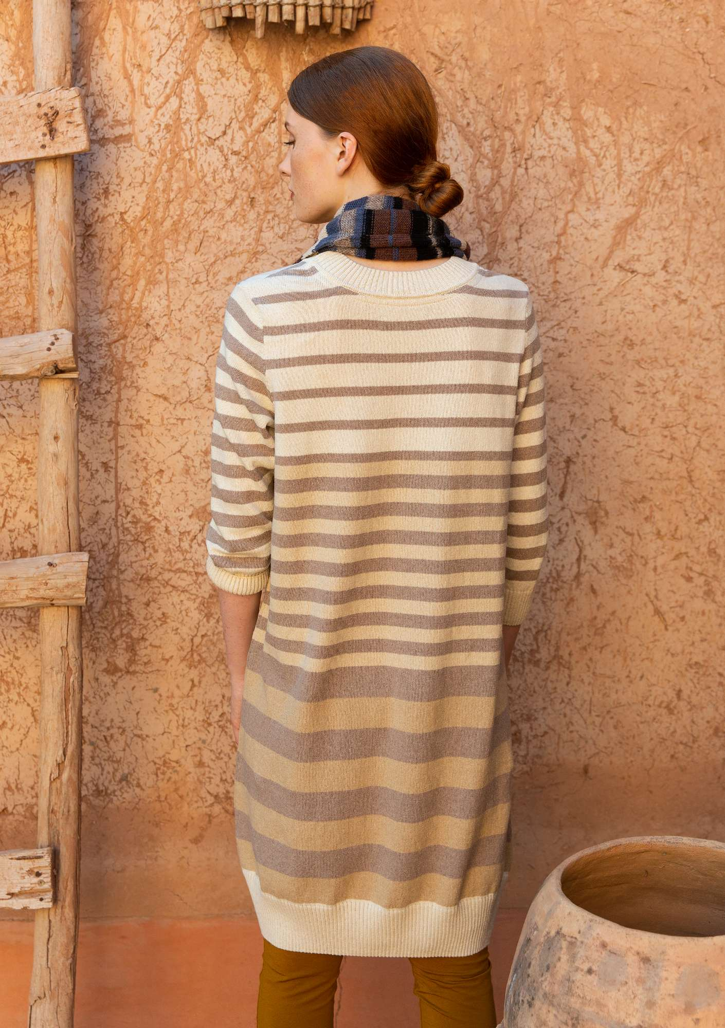 Striped tunic in recycled cotton vanilla