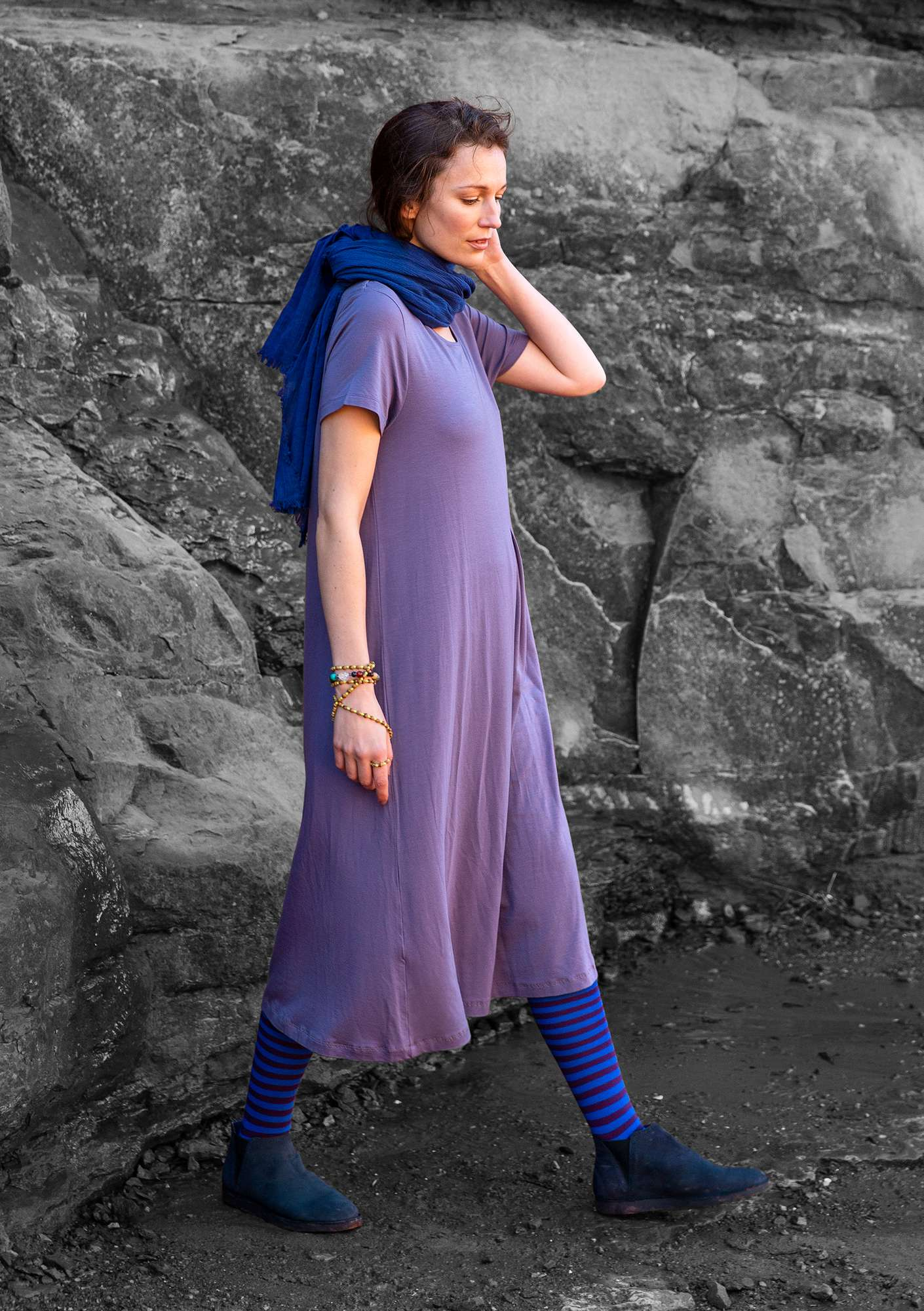 """Paradise"" dress in lyocell/spandex muted violet"