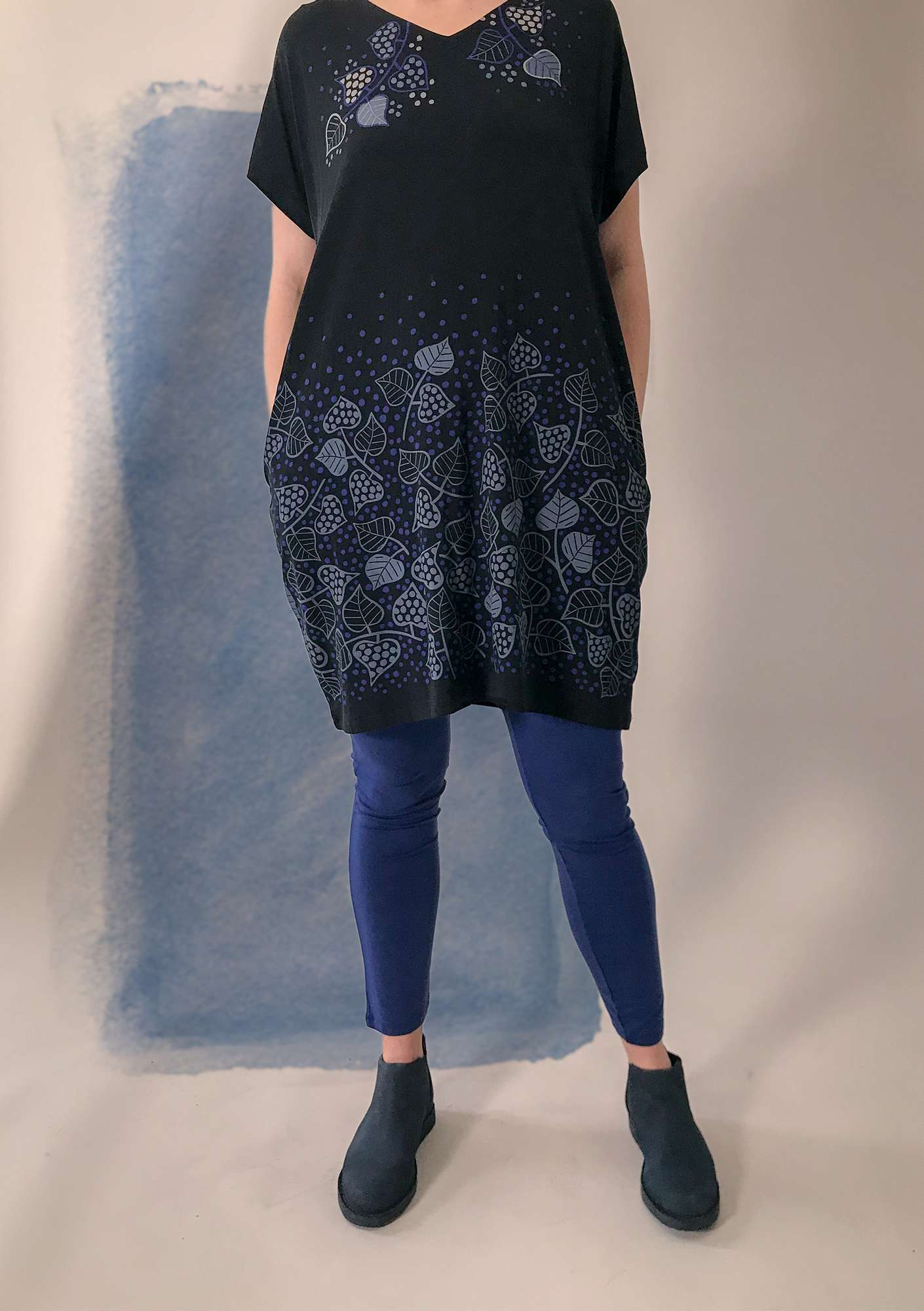 Leggings in lyocell/elastane midnight blue