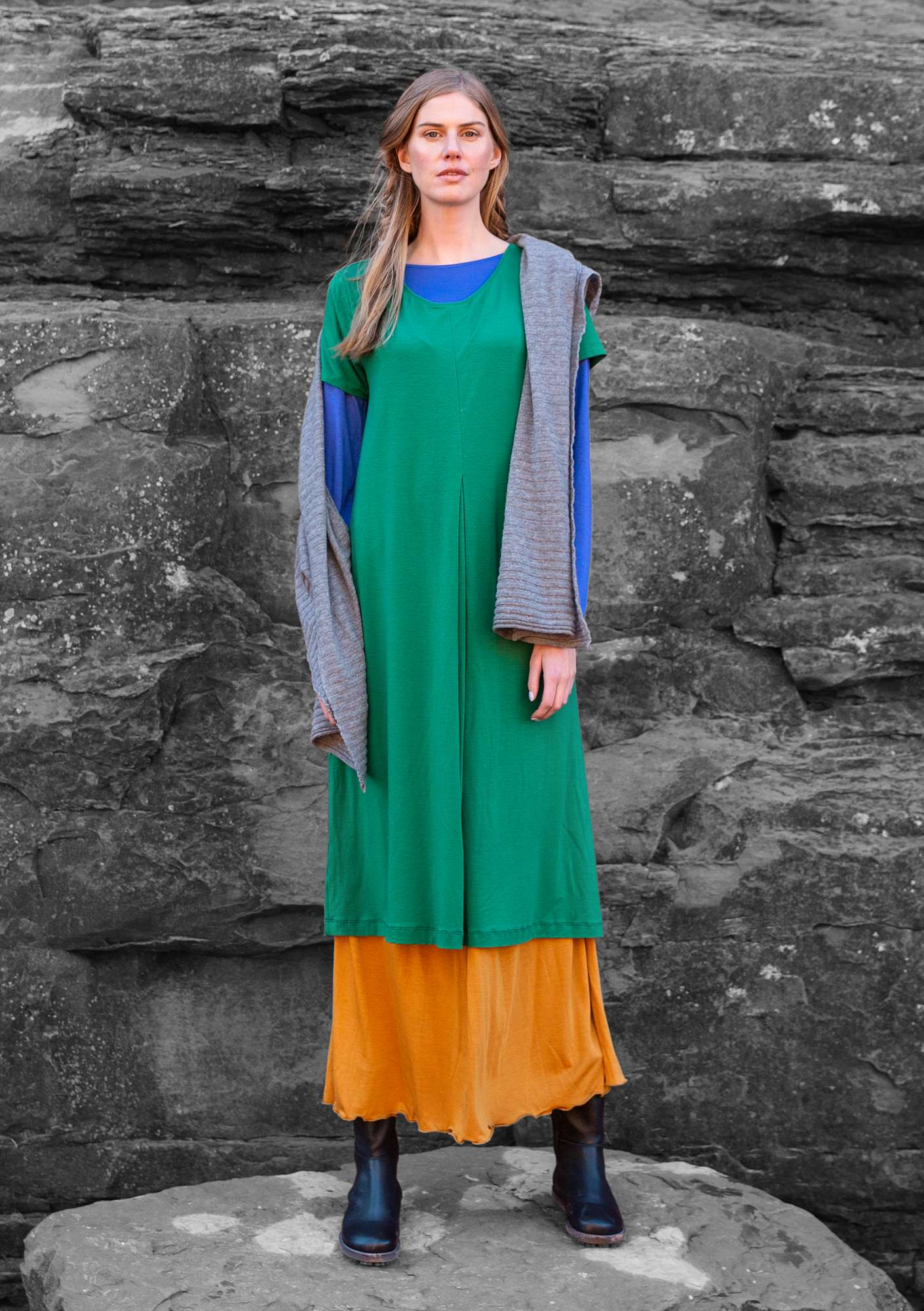 """Paradise"" dress in lyocell/elastane dark emerald"