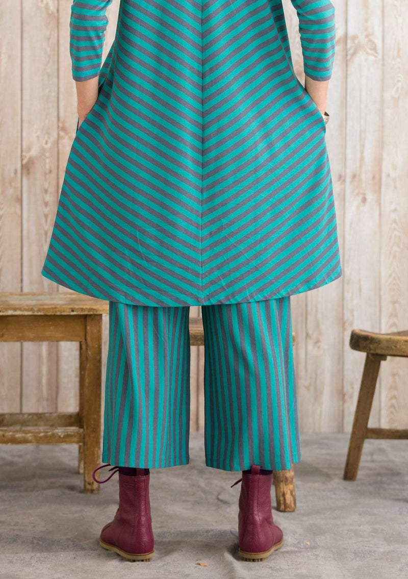 Trousers in modal/cotton/elastane aqua green/agave