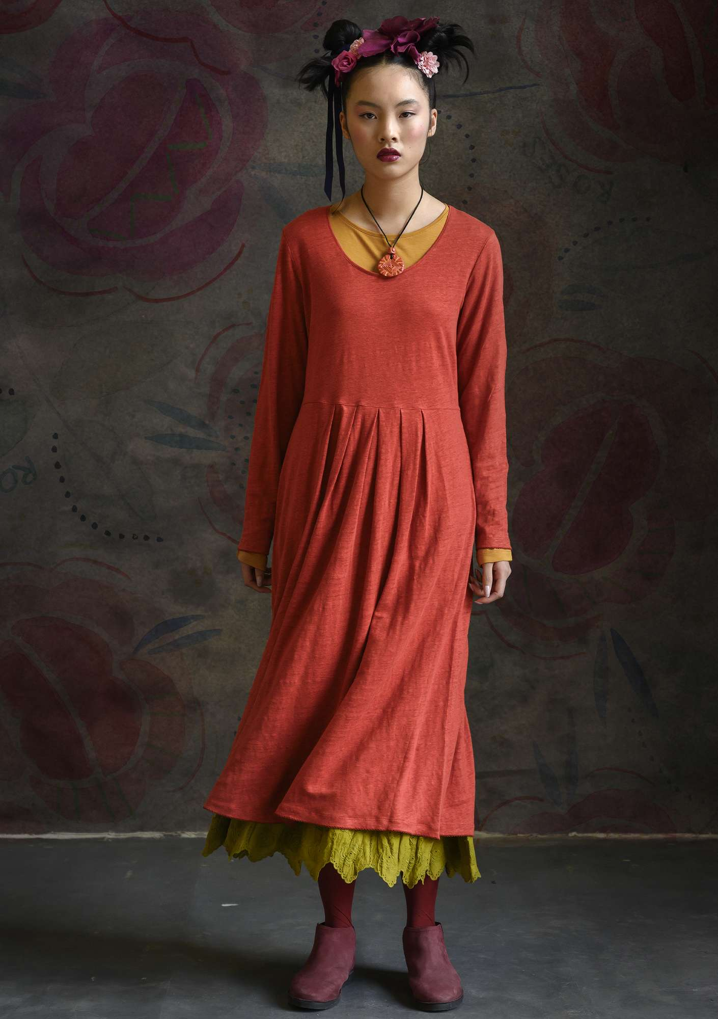 Linen dress copper