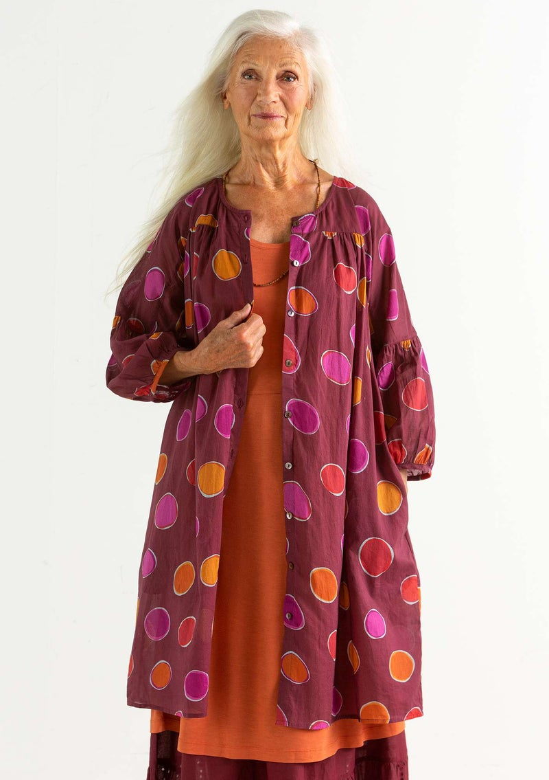 """Billie"" organic/recycled cotton dress burgundy/patterned"