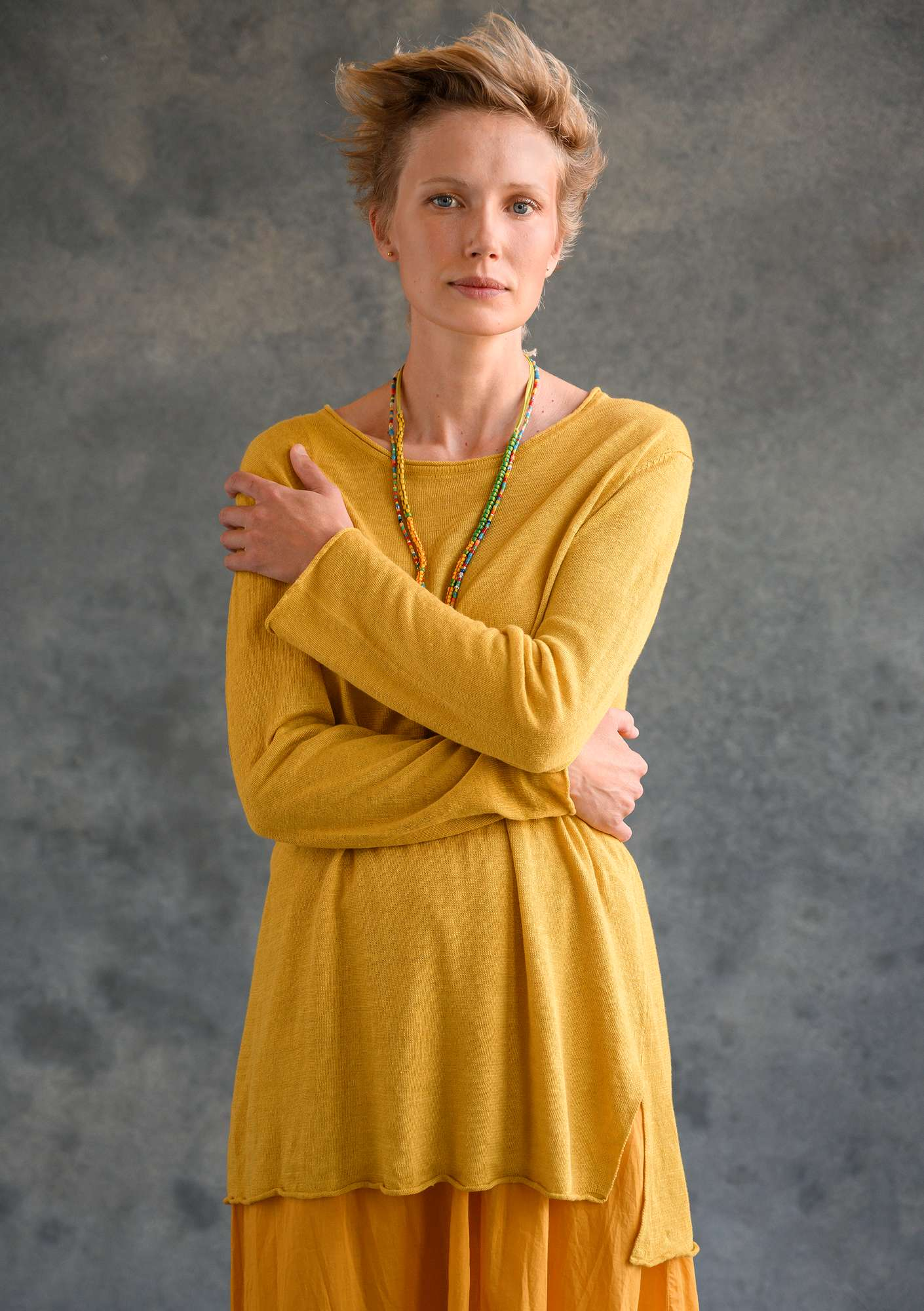 Knitted tunic in organic linen pineapple