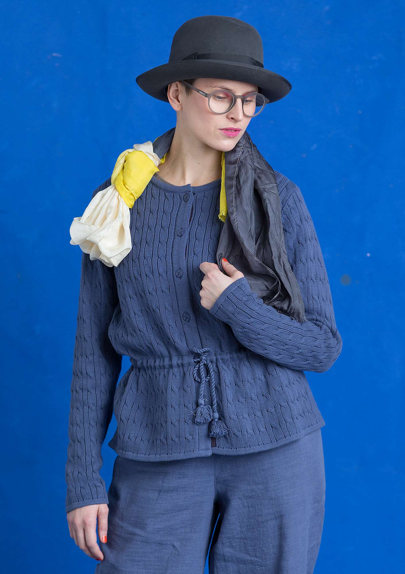 Cable-knit cardigan in eco-cotton muted blue