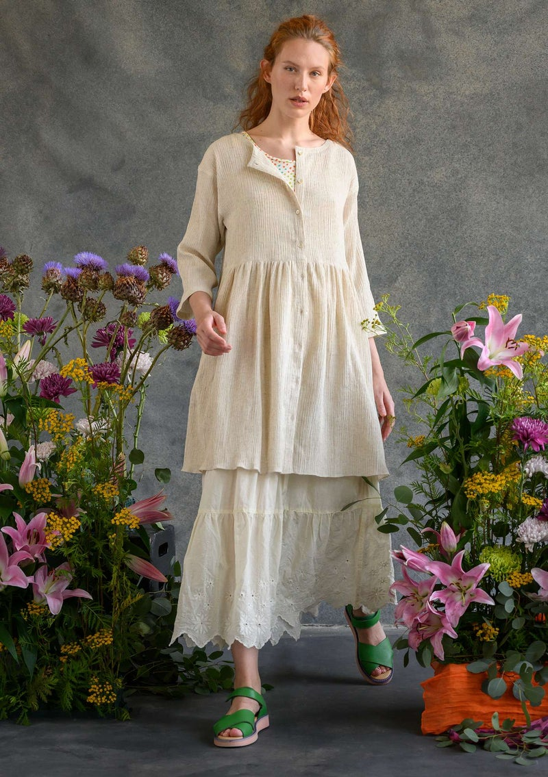 Artist's blouse in organic cotton/linen nature
