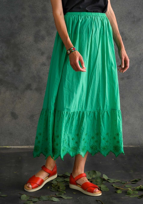 Solid-colour ruffle skirt lotus green