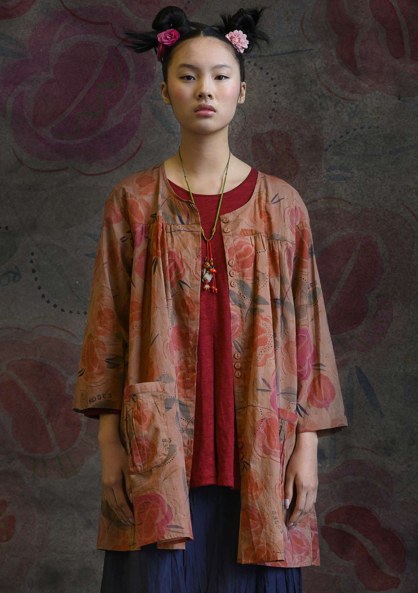 """Roses"" organic cotton smock blouse lily"