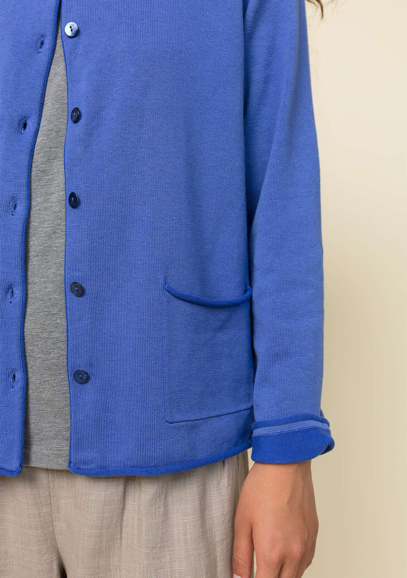 Plated cardigan in organic cotton sky blue