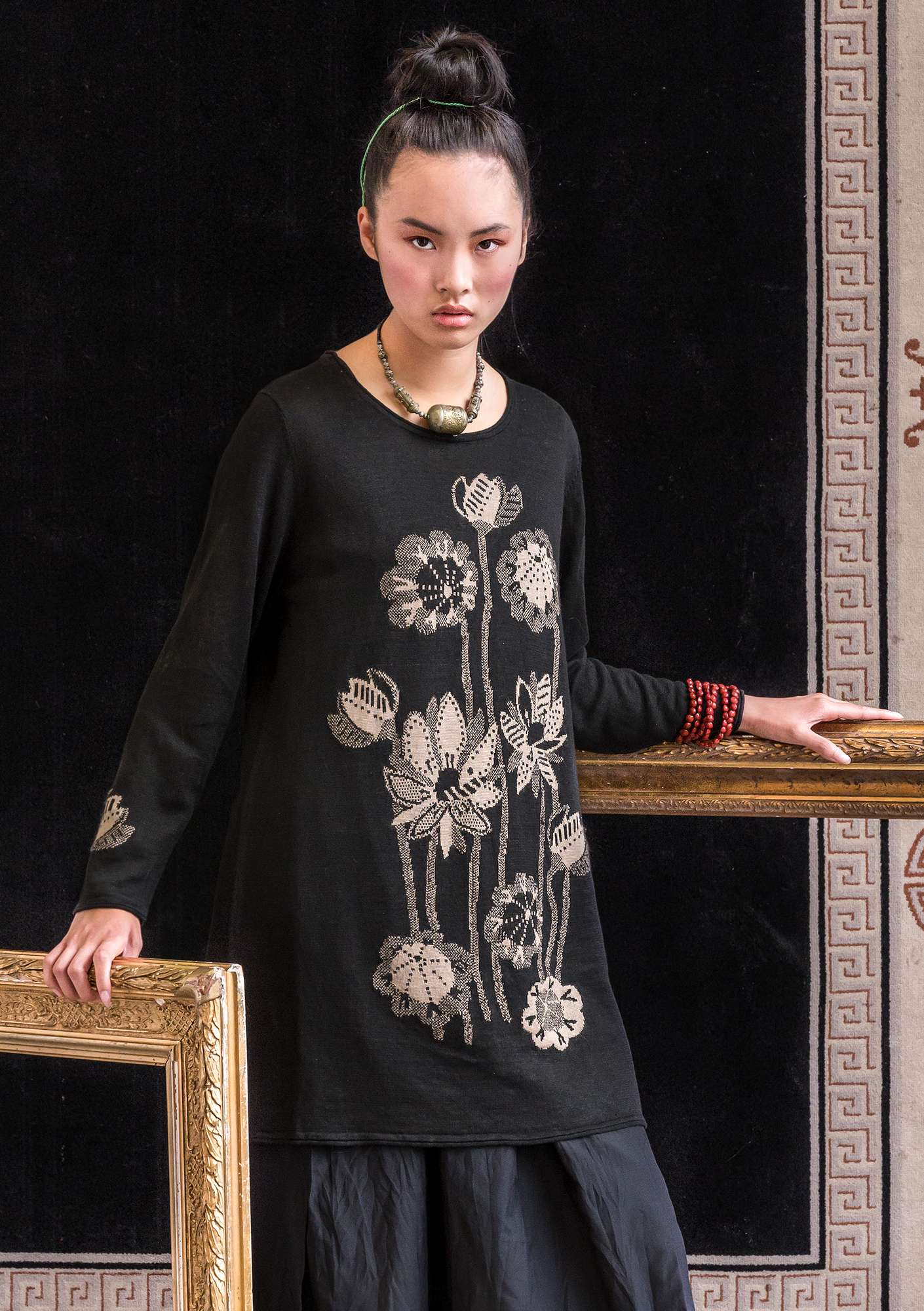 Tunique en lin Lotus black