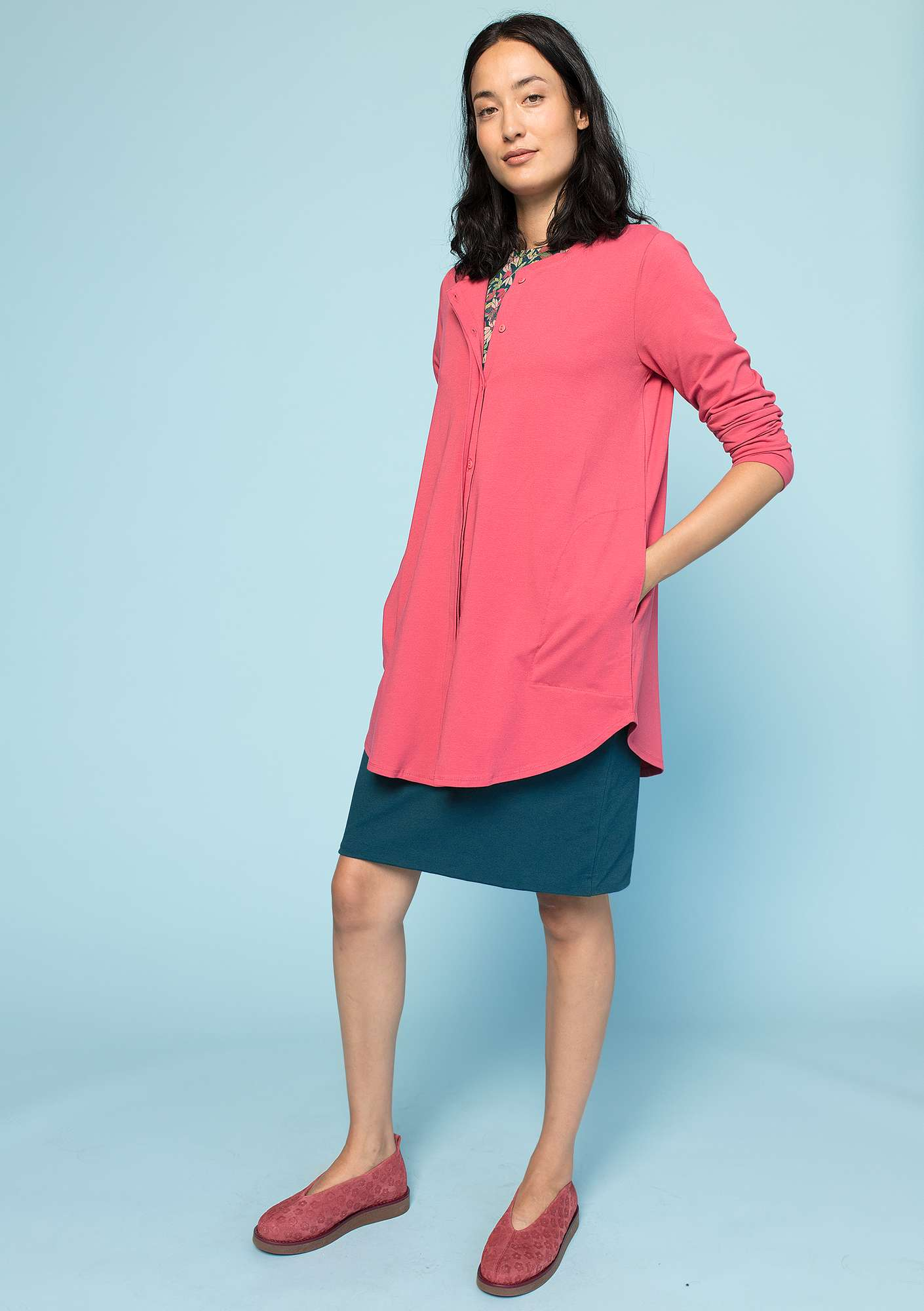 Jersey shirt in eco-cotton/spandex coral