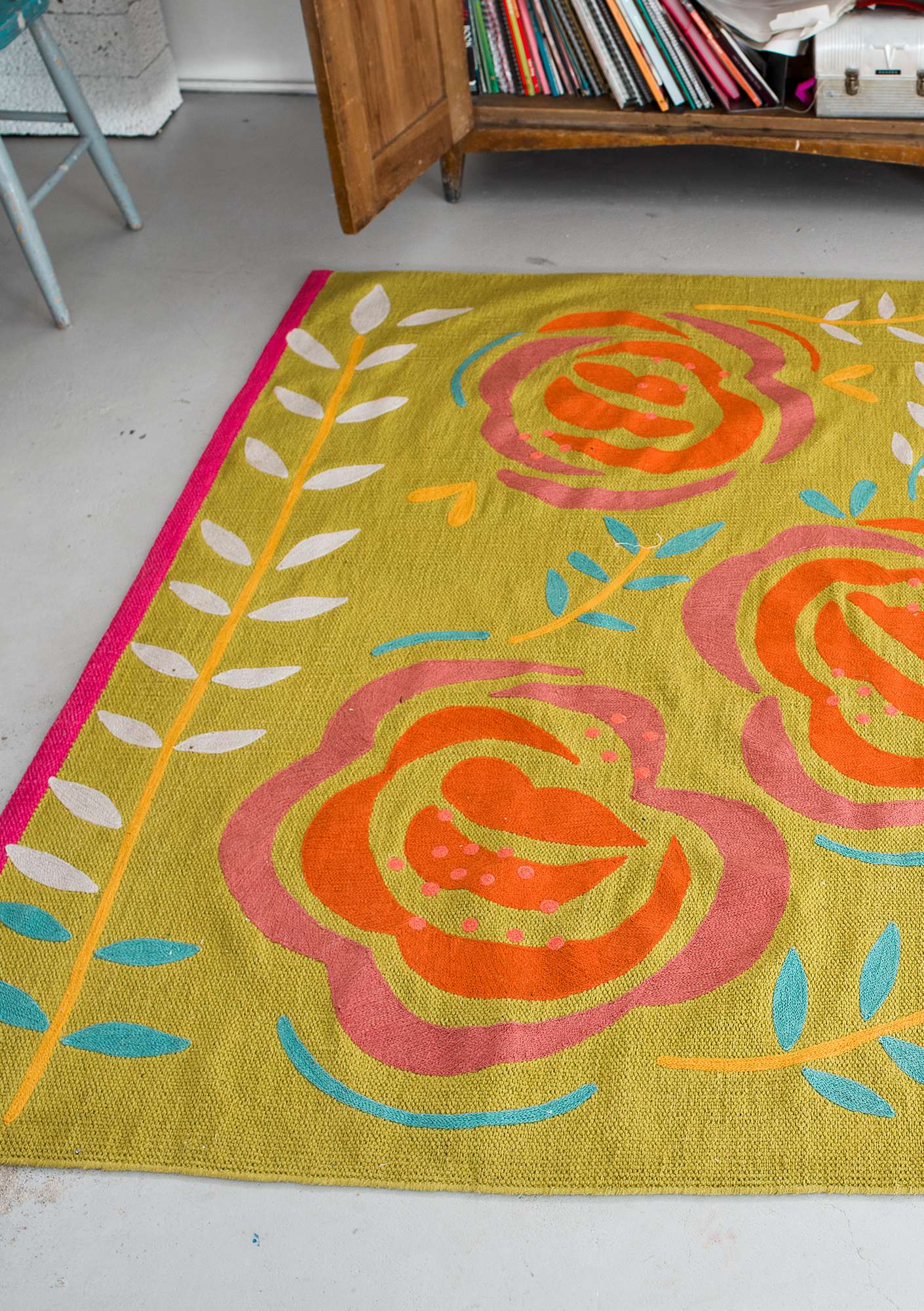 """Rosig"" cotton rug guava"