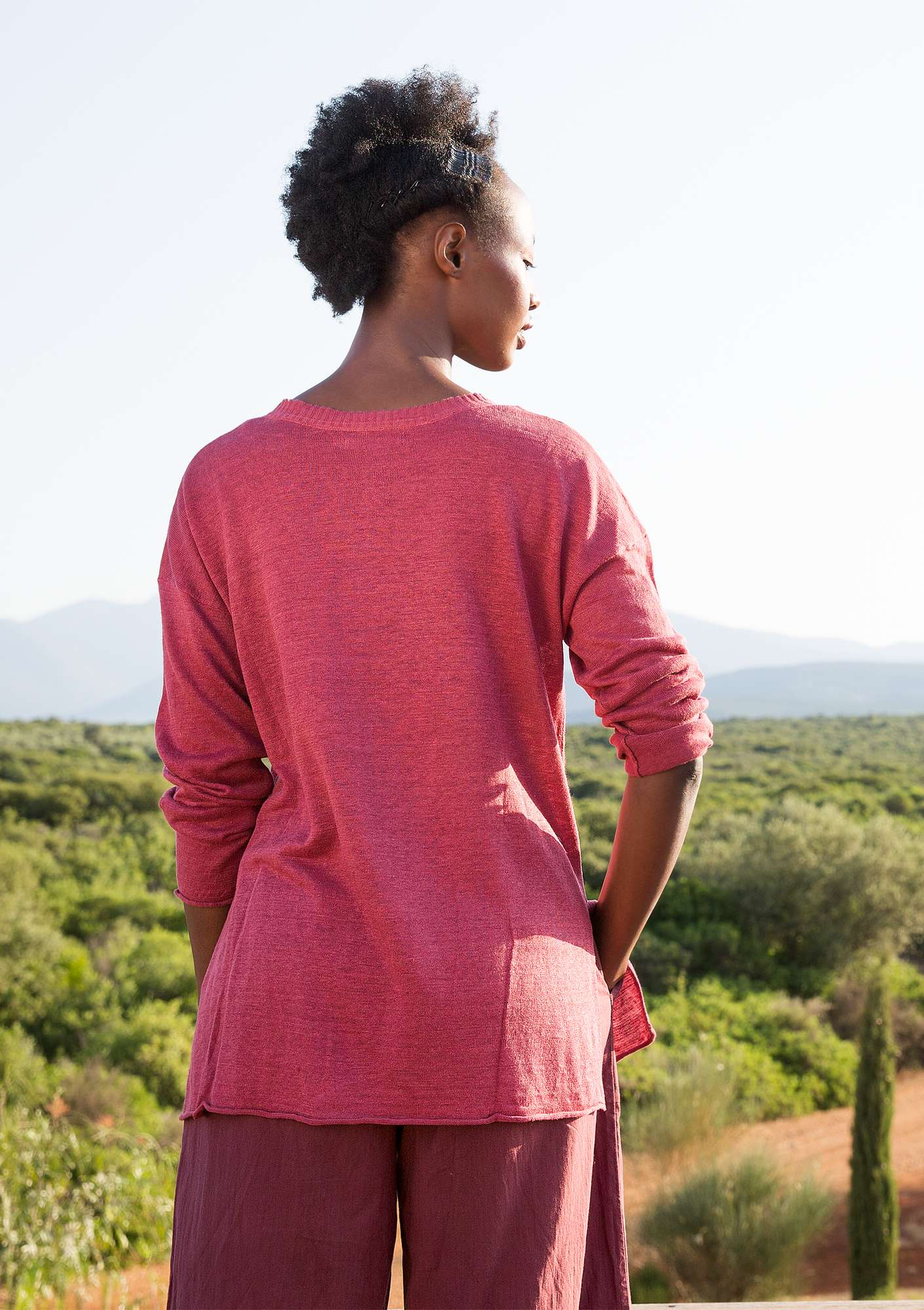 Knit tunic in organic linen fig