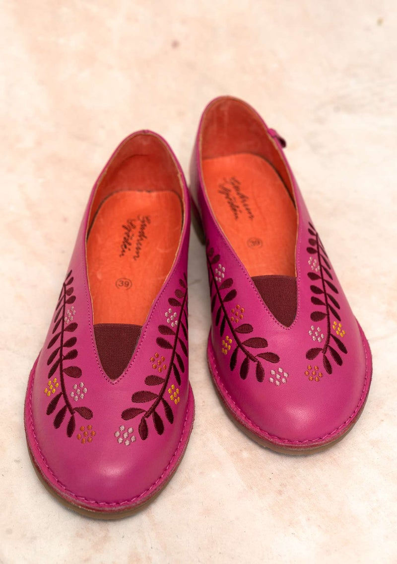 """Lily"" nappa shoes hibiscus"