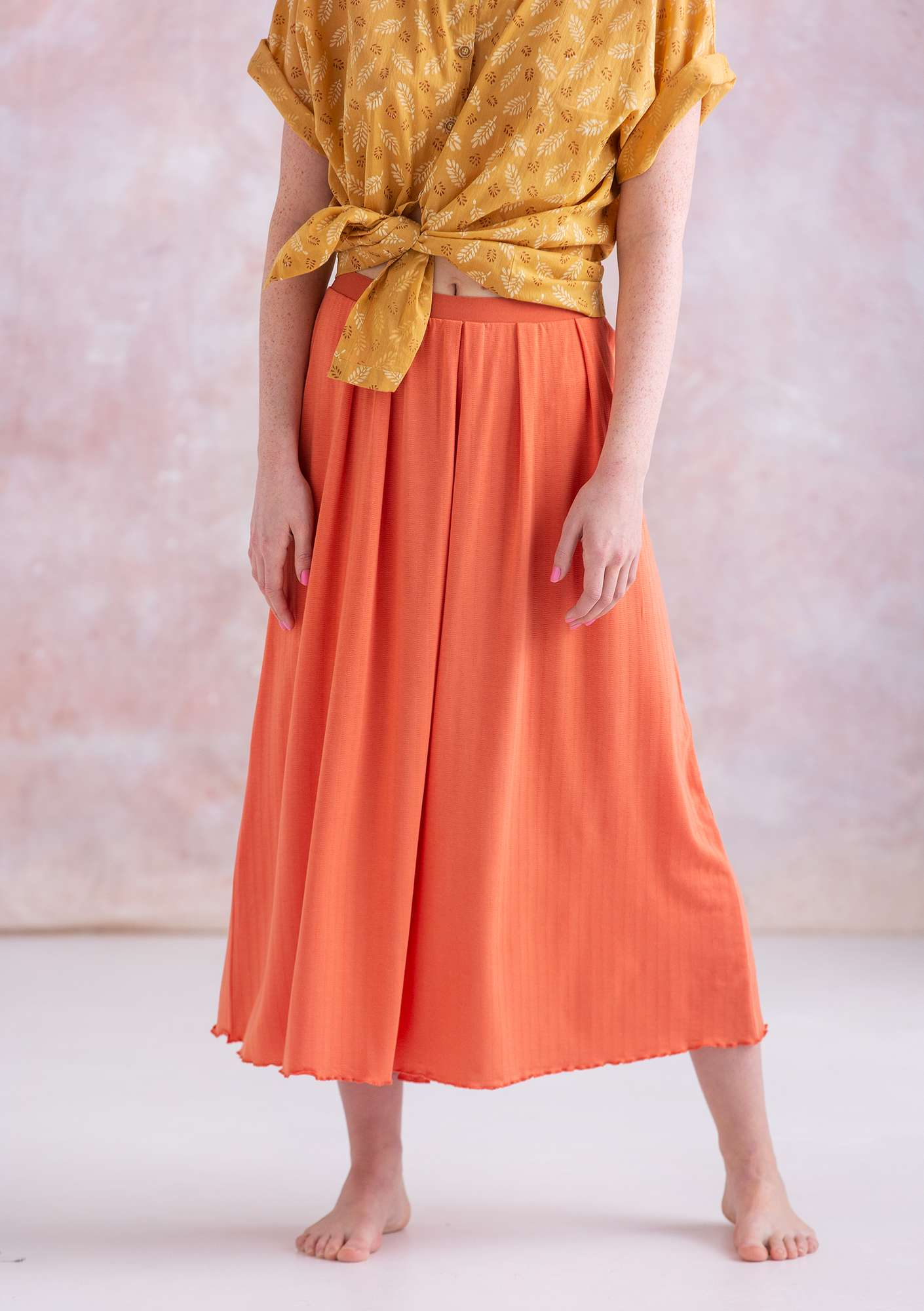 Skirt in micromodal/spandex papaya