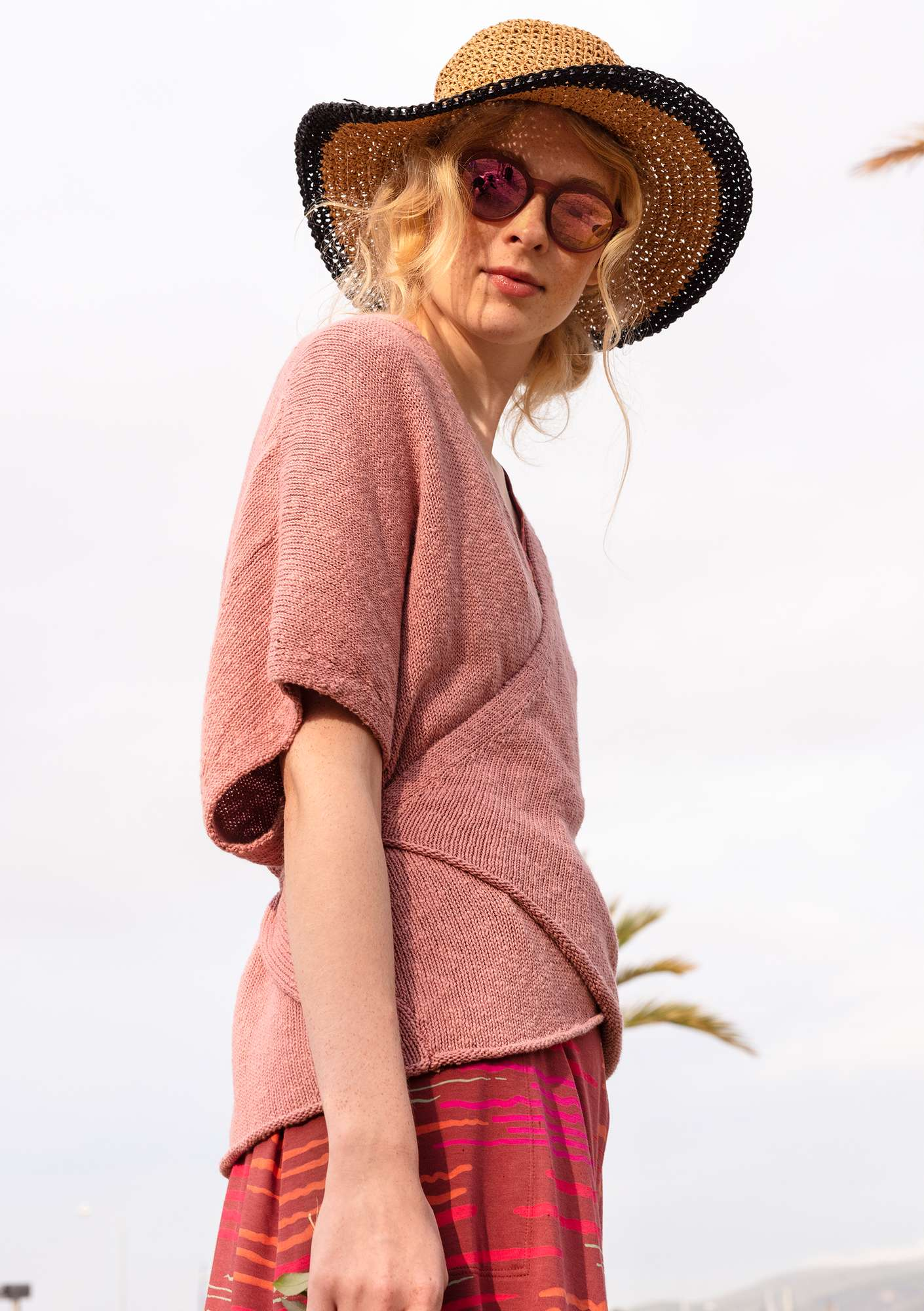 Wrap cardigan in eco-cotton/eco-linen powder pink
