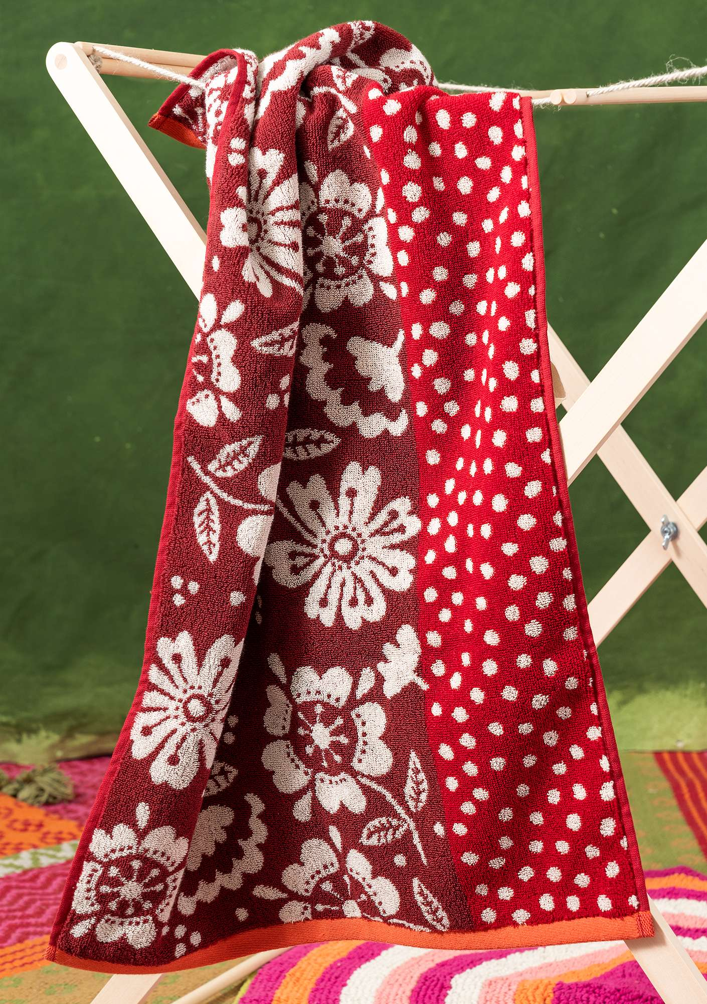 """Okinawa"" organic cotton hand towel cherry"