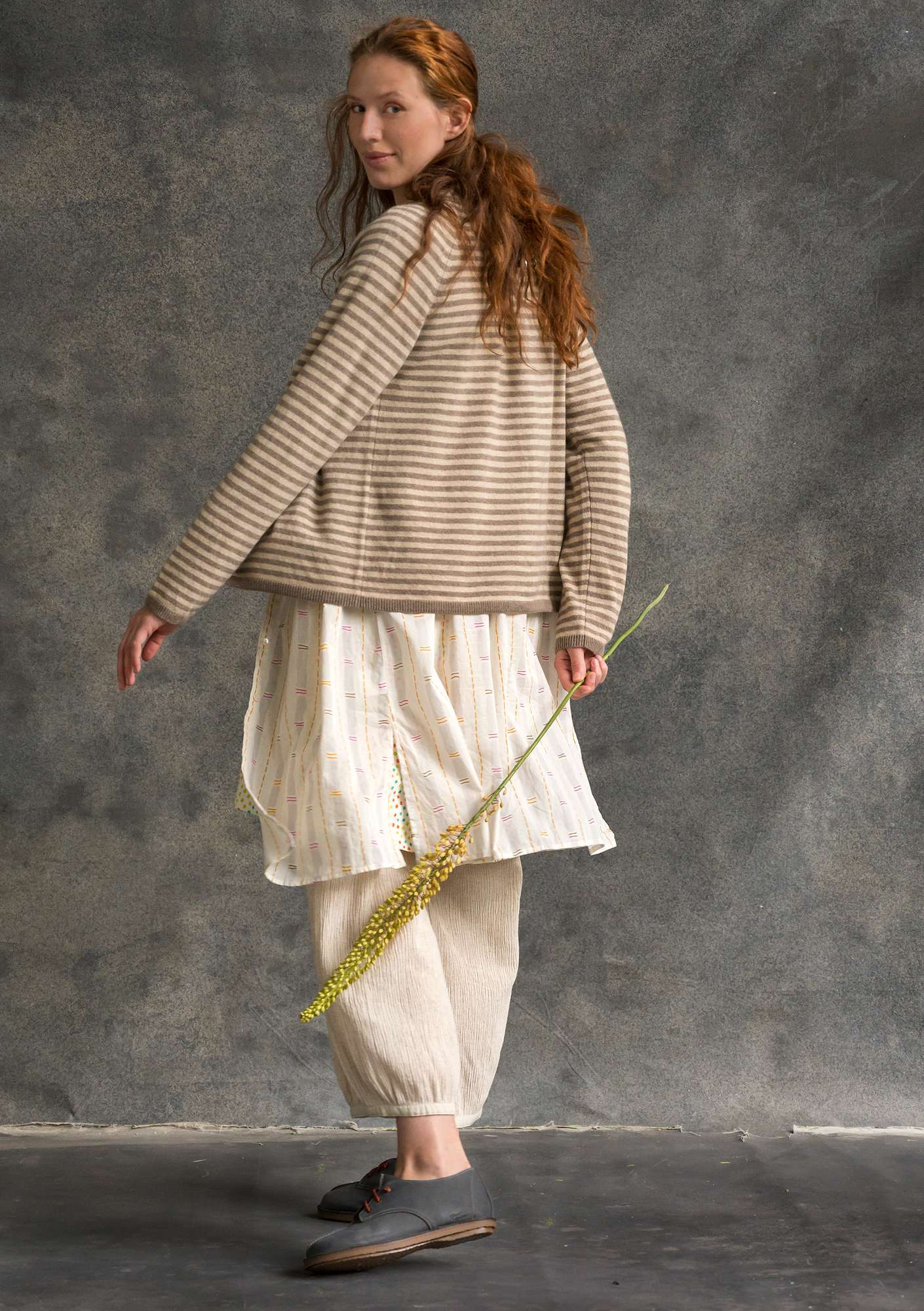 Brilliant cashmere cardigan potato/natural melange
