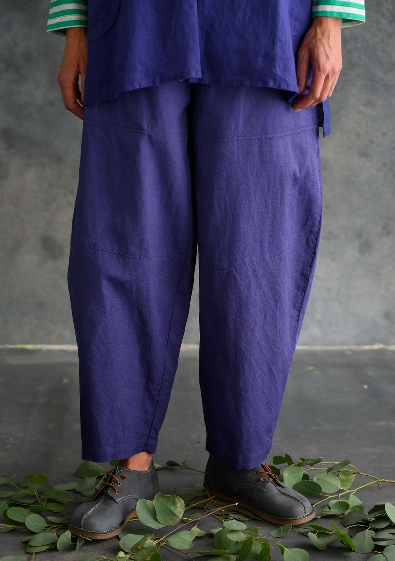 Pants in organic cotton/linen violet