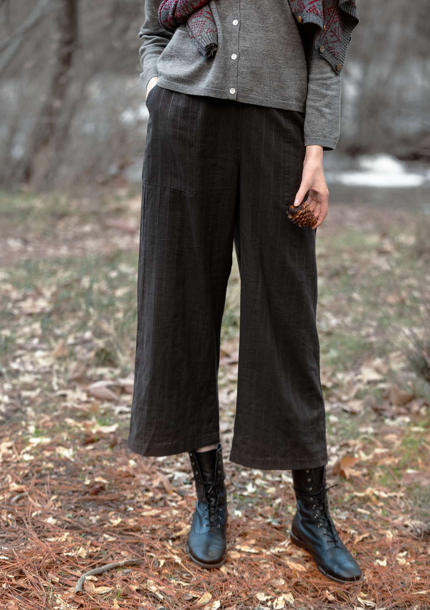 Pants in eco-cotton dark ash gray
