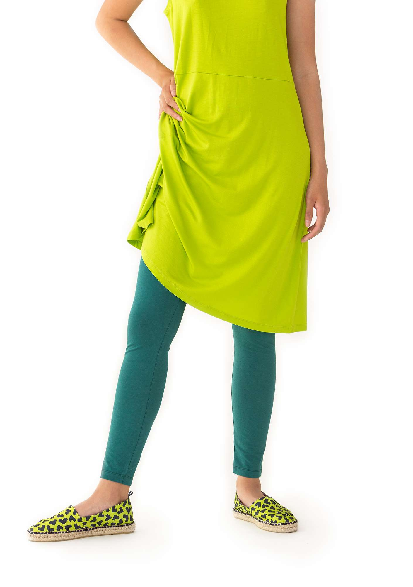 Leggings in organic cotton/spandex peacock  green