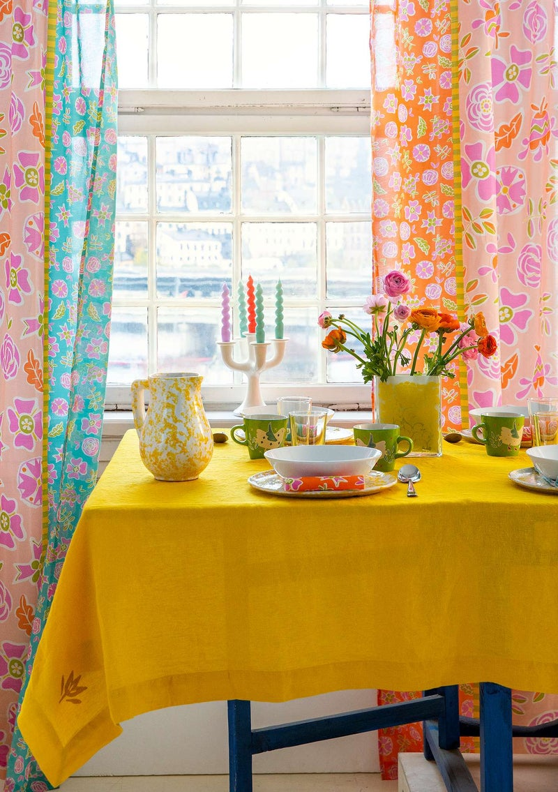 Washed linen tablecloth sunflower