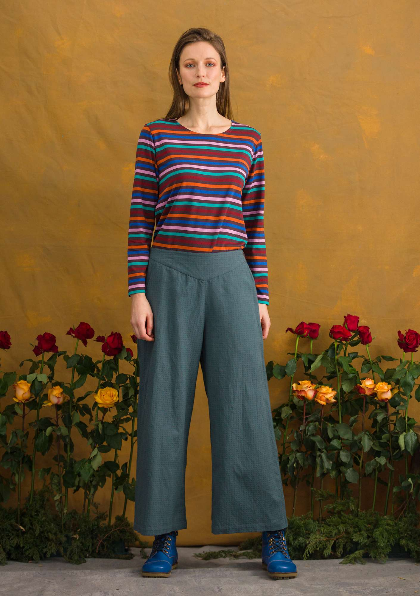 Textured weave trousers agave