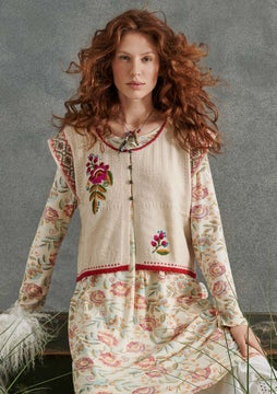 Mora embroidered waistcoat light sand