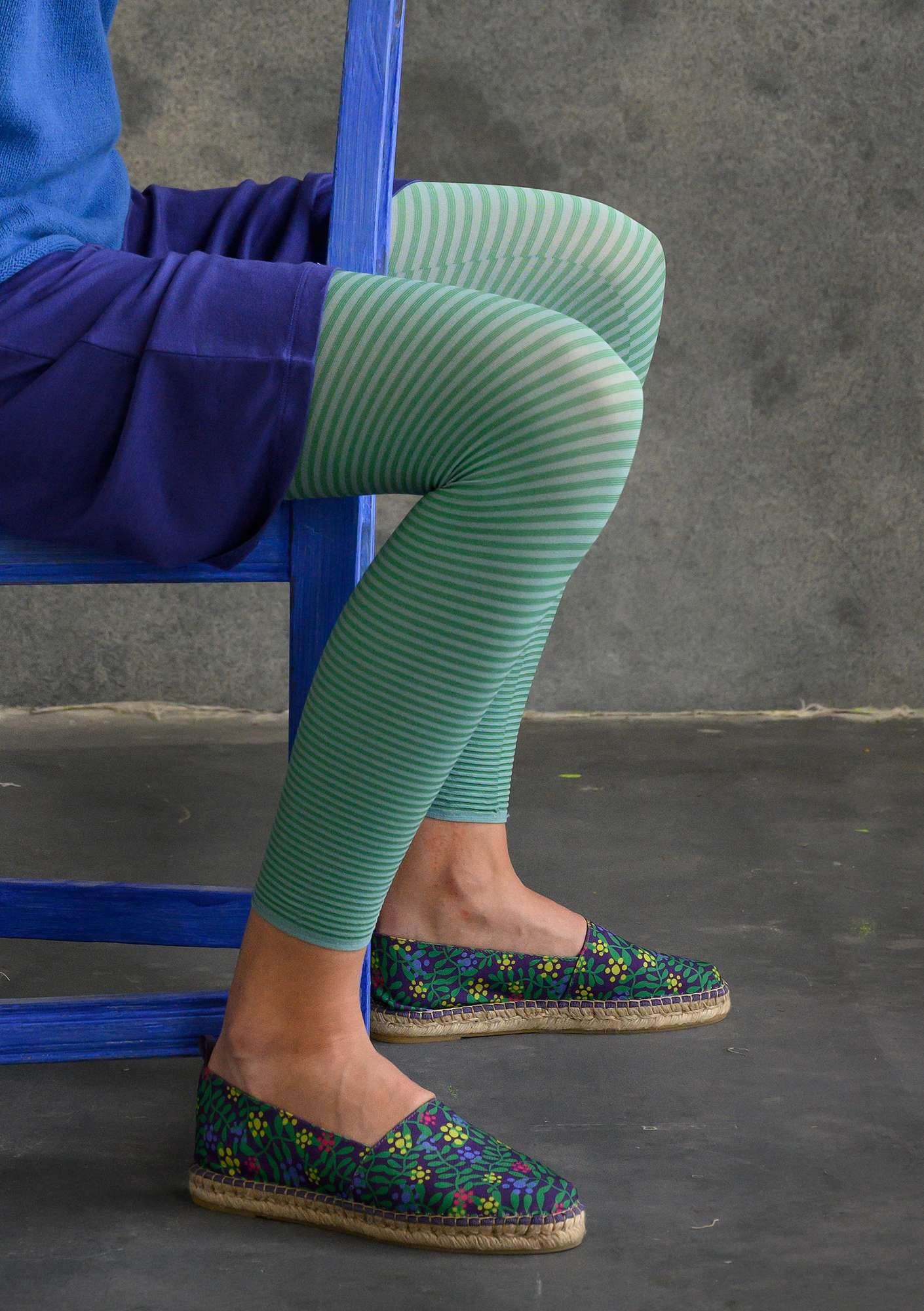 Striped leggings jade/asparagus