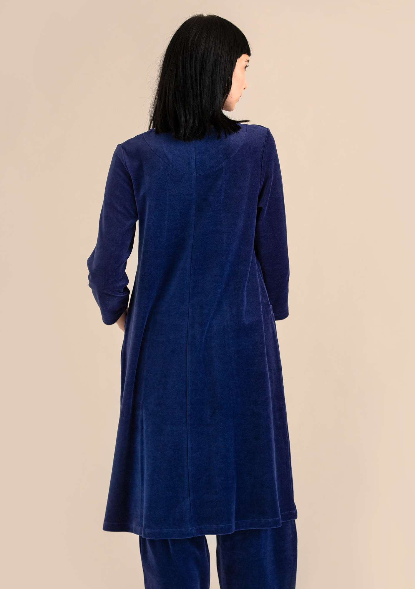 Velour dress in organic cotton/polyester midnight blue