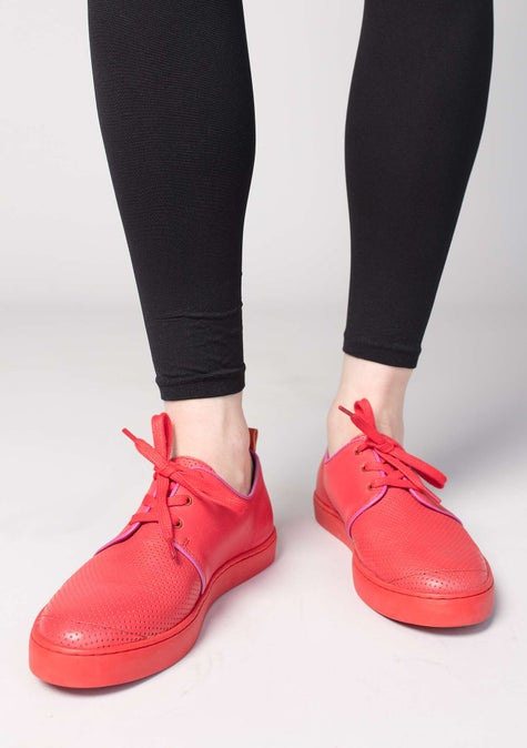 Tennis en cuir nappa bright red