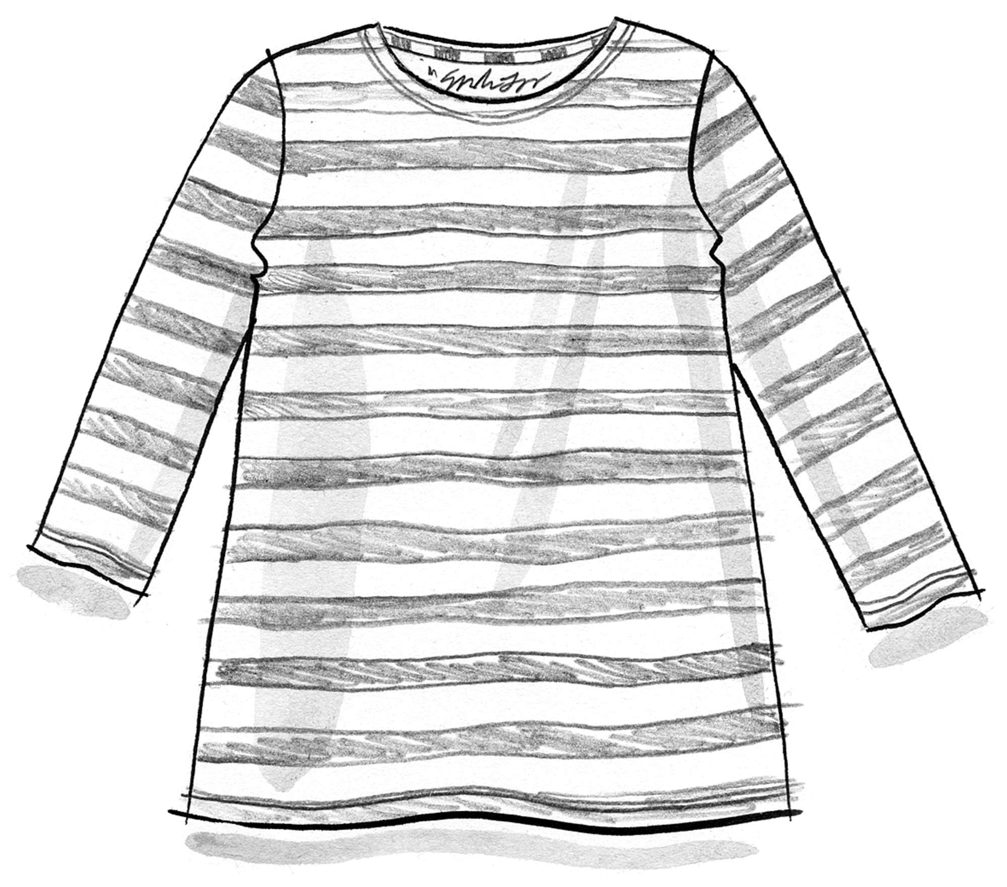 Block-striped top in organic cotton