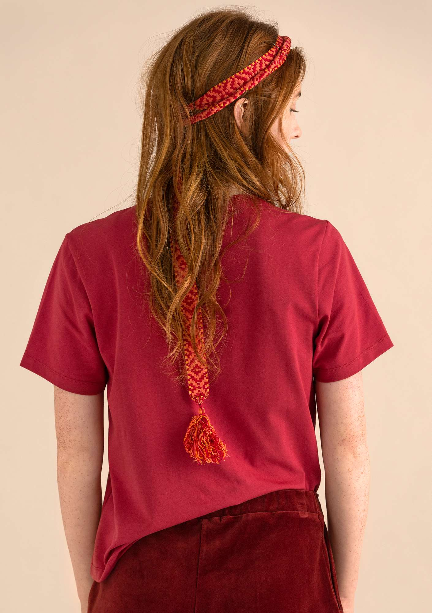 T-shirt in eco-cotton/spandex poppy