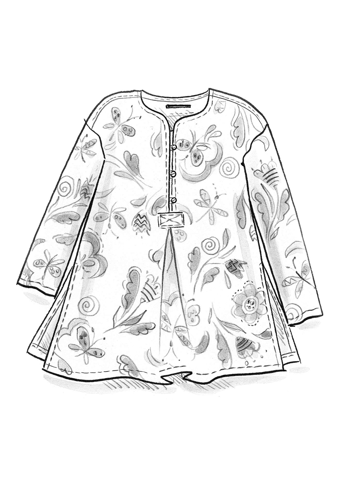 """Dragonfly"" organic cotton tunic fig"