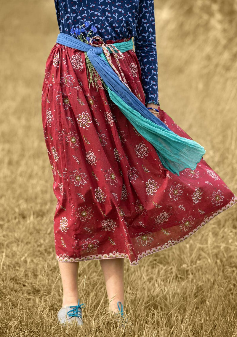 """Mallika"" organic cotton skirt cranberry"