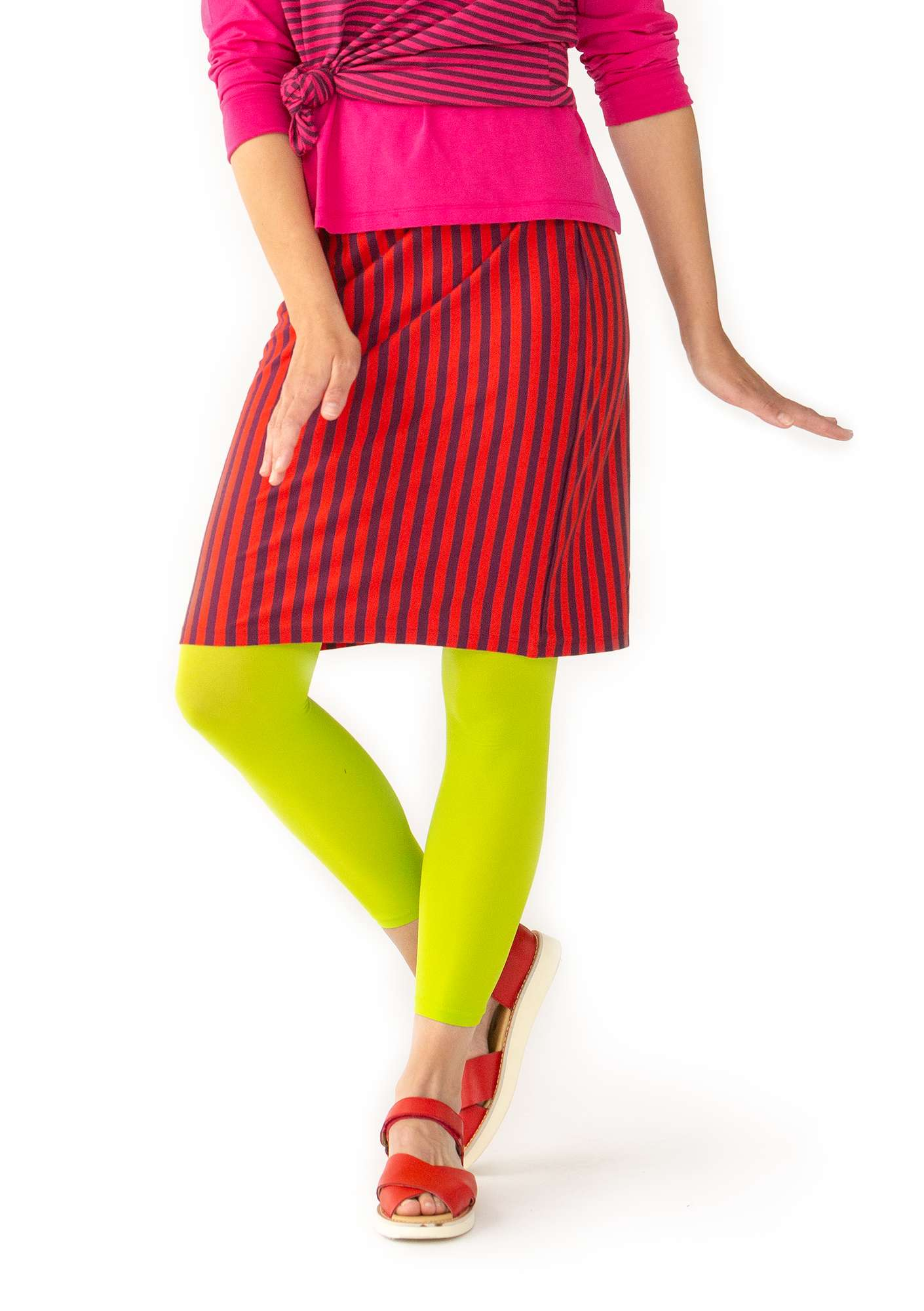 Striped skirt in organic cotton bright red/grape