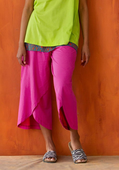 Overlapping jersey pants hibiscus