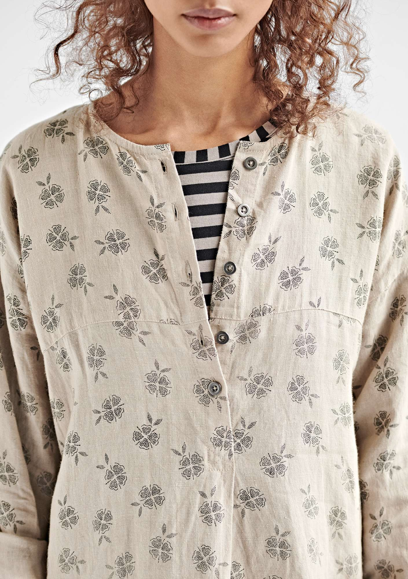 Linnen blouse NICE naturel/dessin