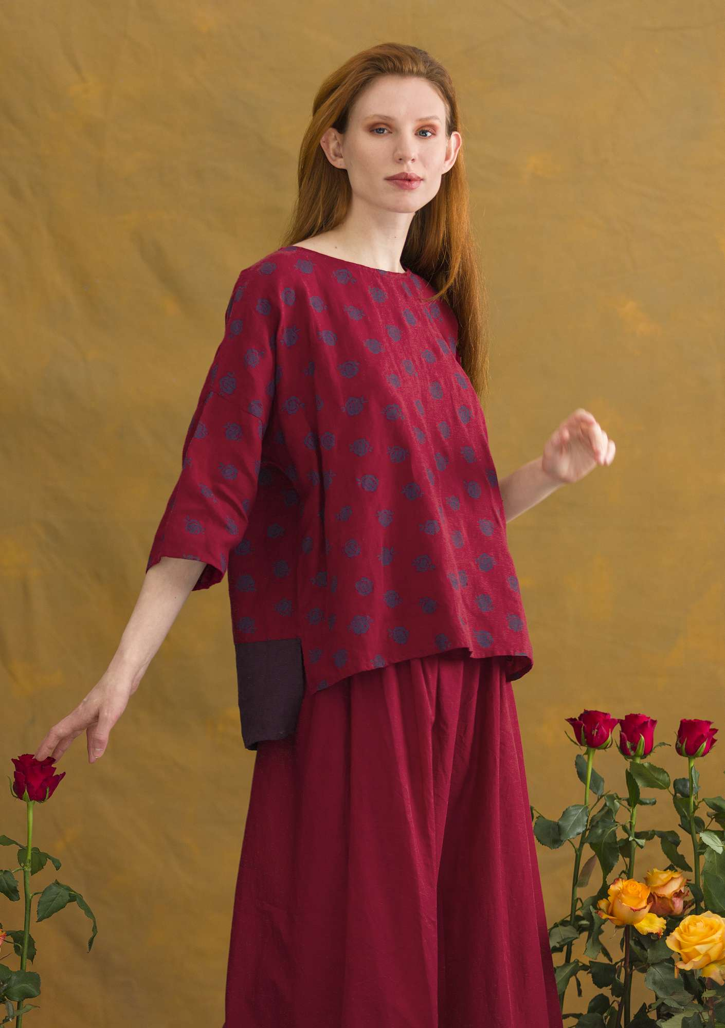 Blus Linros cranberry/patterned