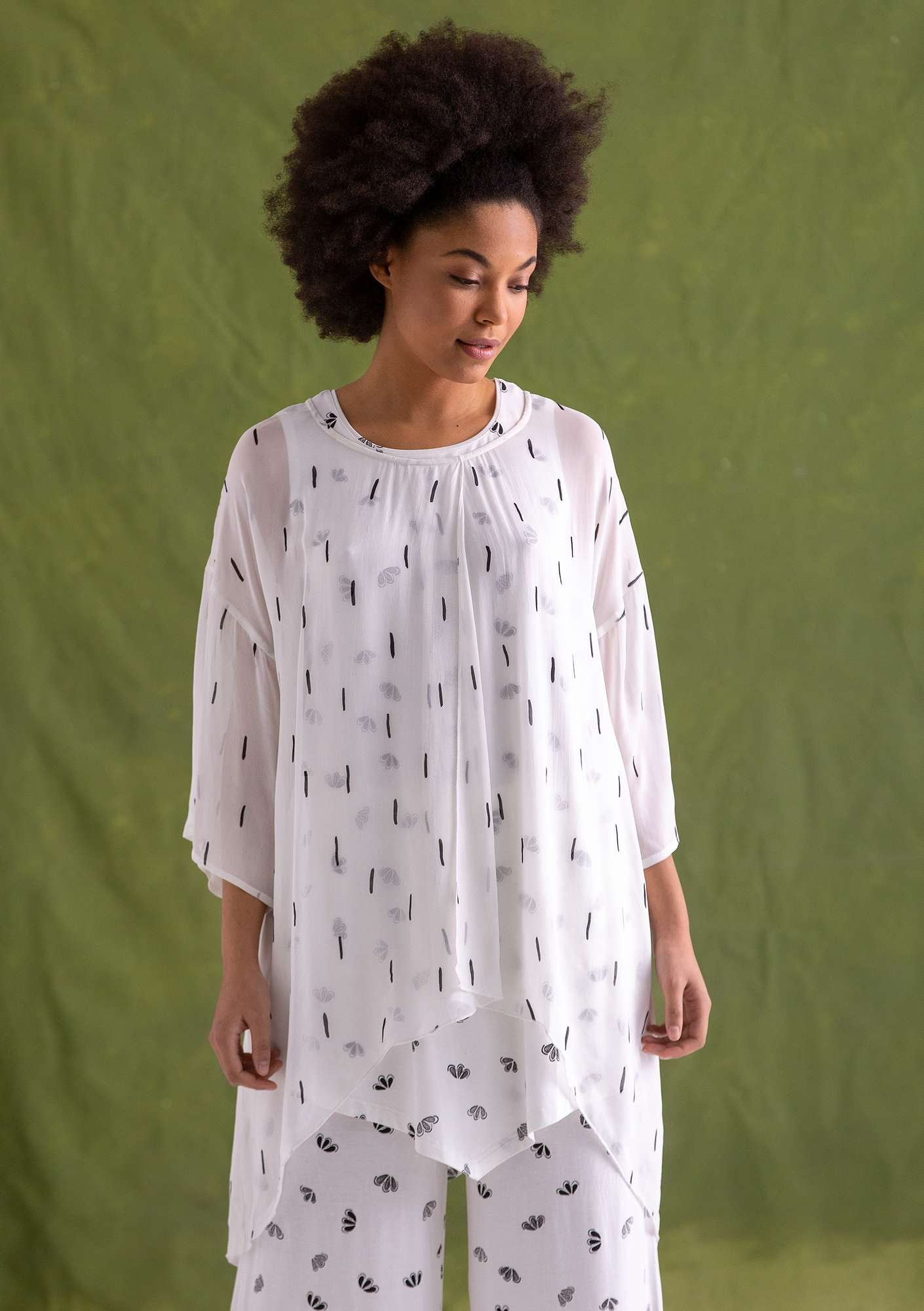 """Chelsea"" tunic in rayon semi-bleached"