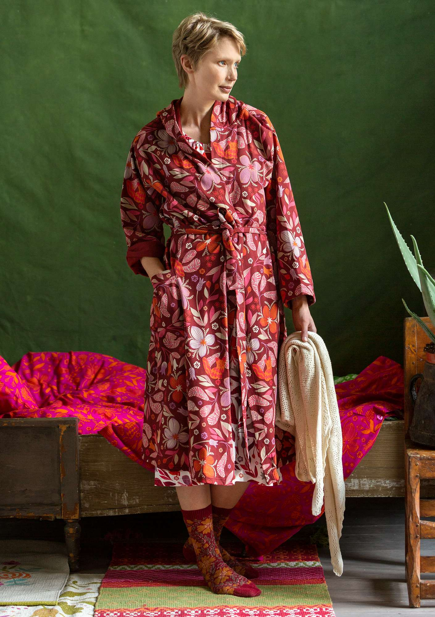 """Ide"" organic cotton bathrobe agate red"