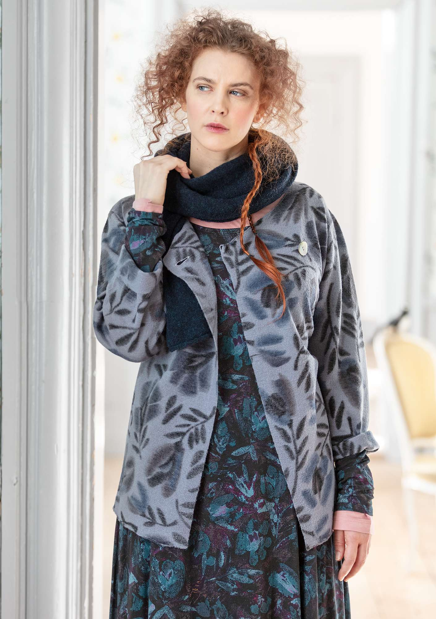 "Felted wool ""Disa"" cardigan with printed design storm blue"