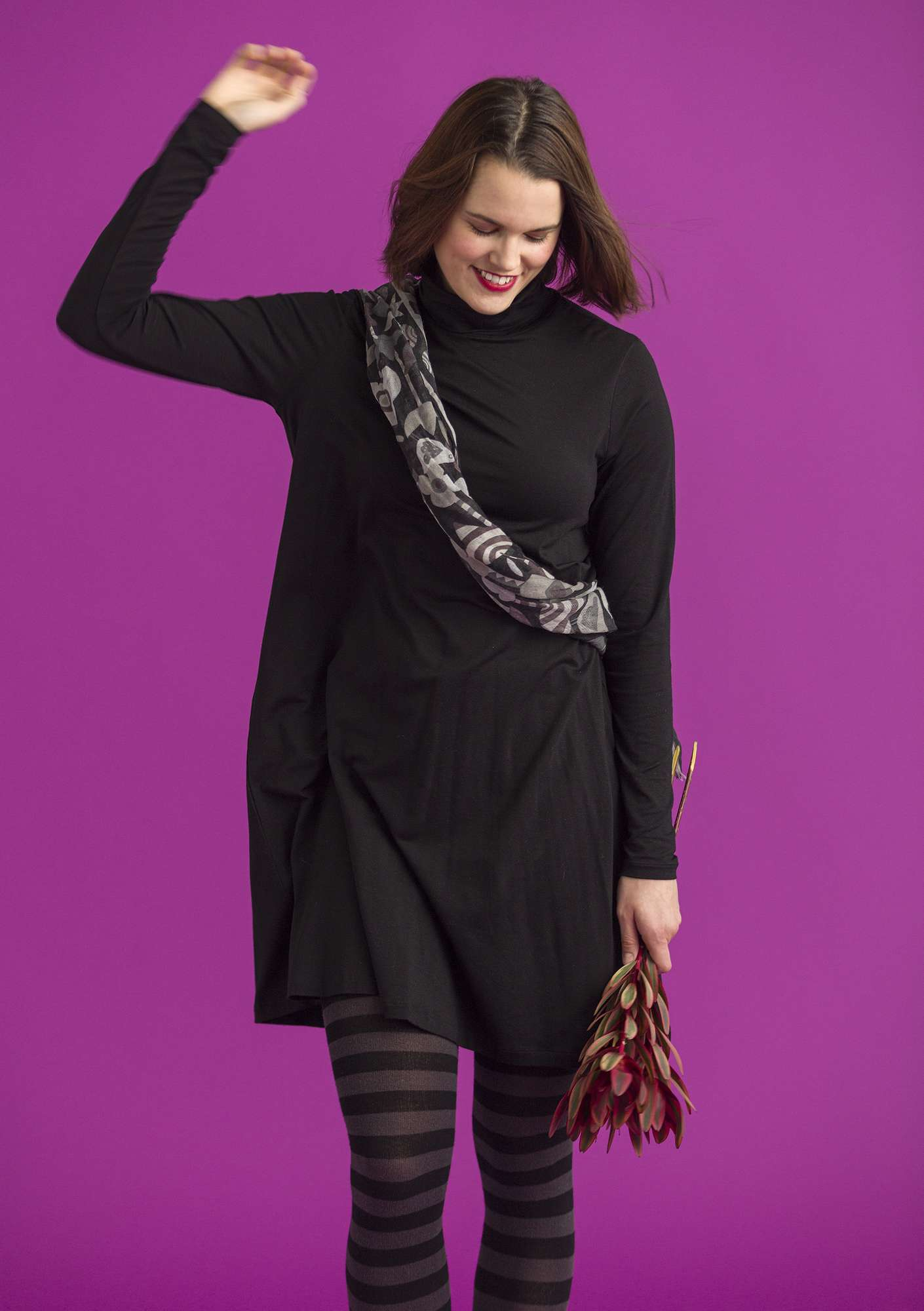 Solid-color turtleneck dress in lyocell/spandex black