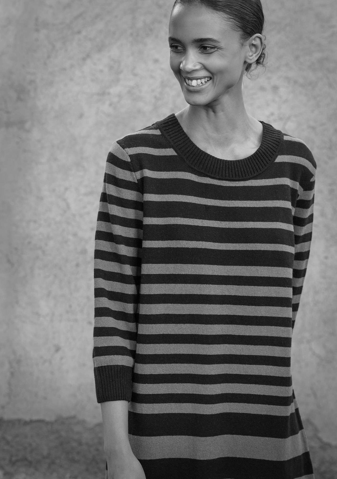 Striped tunic in recycled cotton black
